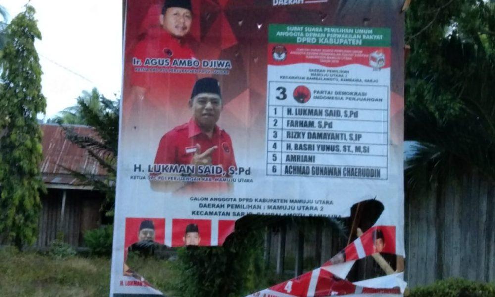 Puluhan Baliho Dirusak, PDIP Pasangkayu Minta Bawaslu Bertindak Cepat