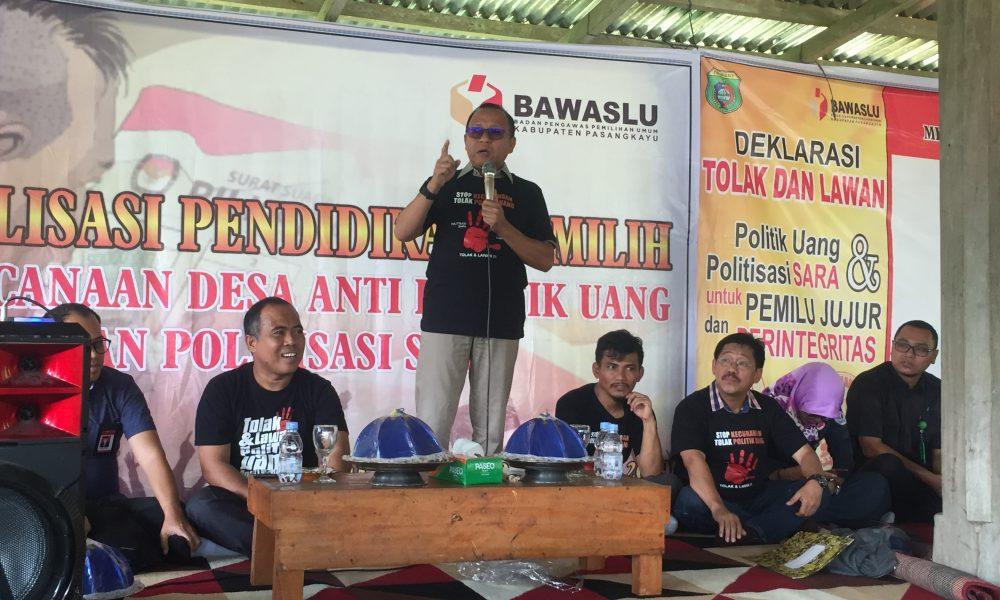 Bawaslu Bersama Pemkab Pasangkayu Canangkan Desa Anti Politik Uang