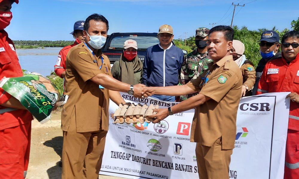 Pemkab Pasangkayu Salurkan Sembako Untuk Korban Banjir Lariang